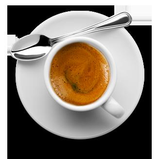 tazzina di caffè vista dall'alto, con cucchiaino e sottotazza bianco