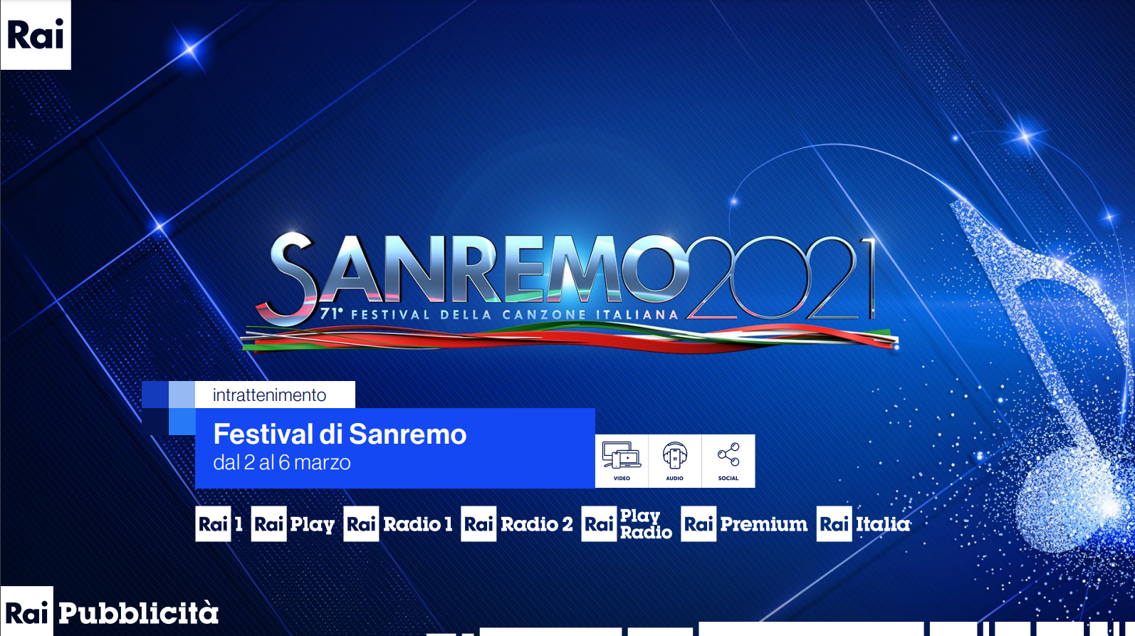 Logo Festival di Sanremo 2021, 71esimo festival della canzone italiana, con i loghi delle emittenti Rai Tv e Radio che lo trasmetteranno dal 2 marzo 2021